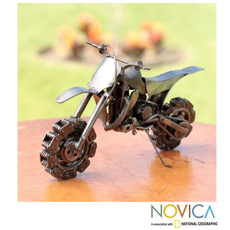 Novica Handmade Recycled Auto Part 'Rustic Motocross Bike' Sculpture (Mexico) (Solid), Silver (Metal)