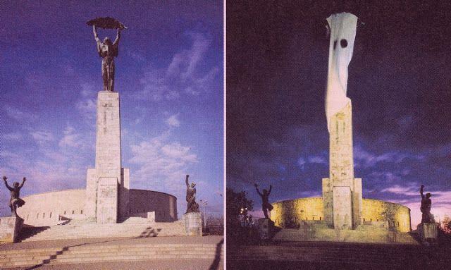 """St. Auby Tamás/IPUT – Lőrinczy ,Lorrensy"""" Julia projektje: A szabadság lelkének szobra (SzLSzP 1991 W), 1991 június"""
