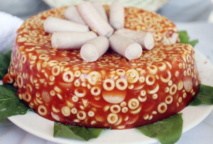 white trash cookbook | Spaghetti-O Jello-O Mold (with Wiener garnish)