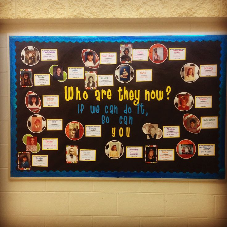 Our Career Bulletin Board. We asked our teachers and staff to submit their middle school pictures with their first career choice in middle school and what schools they attended. Our students were engaged with the board.