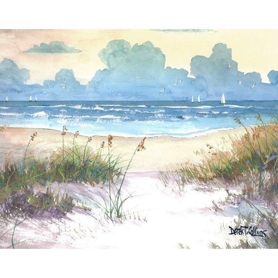Aquarel landschap zee haver schilderij PRINT Oceaan zeegezicht zeilboten zeilen zonsondergang strand surf Giclee reproductie gele teal taupe ____________________________________________________________  Titel: zee haver Enkele van de witte hoogtepunten werden geschilderd met acryl, de rest van het schilderij is aquarel.  Het is een teken en genummerde archivering Giclee print, bedrukt met 200 jaar inkt op aquarel papier.  Kies uw maat: GRATIS VERZENDING Verkrijgbaar in: 13 x 18 op papier $75…