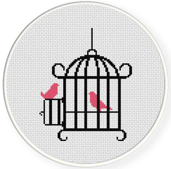 Easy Counted Cross Stitch Patterns | Bird Cage Cross Stitch Illustration