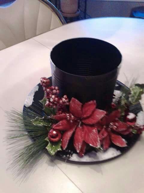 Snowman hat flower arrangement pinterest