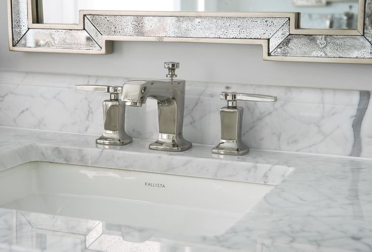 Designed by Denise McGaha Interiors. Photographed by Dan Piassick. #dallas #texas #design #interiordesign #sink #faucet #bathroom #polishednickel #mirror #bath #marble
