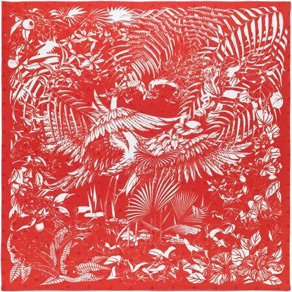 Tatouage Flamingo Party silk Carré (90 x 90 cm) by Hermès