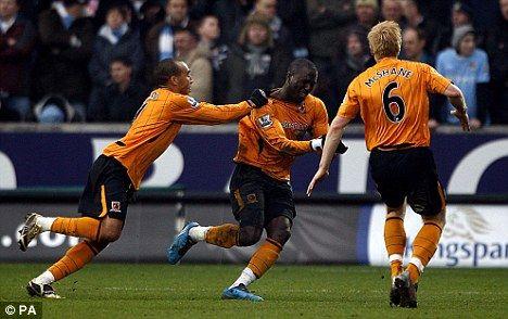 Hull City 2 Man City 1 in Feb 2010 at the KC Stadium. Jozy Altisdore celebrates putting Hull 1-0 up on 31 minutes #Prem