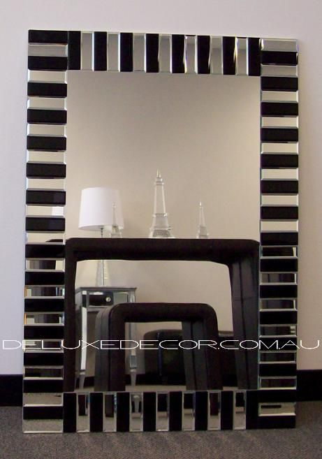 Bevelled Mirror Tile Frame Rectangle Modern Art Deco Wall Mirror 2613A (900 x 700 mm) http://deluxedecor.com.au/products-page/wall-mirrors/bevelled-frameless-rectangle-mordern-art-deco-wall-mirror-2613a-900-x-700-mm/