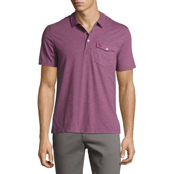 Original Penguin Smack Cotton-Blend Polo ($21) ❤ liked on Polyvore featuring men's fashion, men's clothing, men's shirts, men's polos, pink, mens straight hem shirts, mens pink shirts, mens pink short sleeve dress shirt, mens pink polo shirt and mens short sleeve shirts