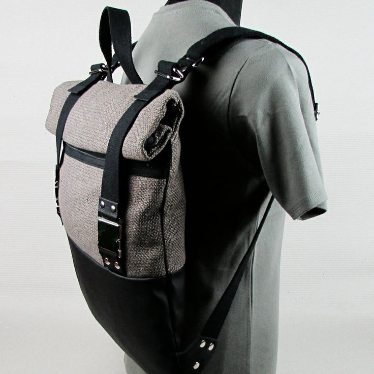 "#insettoamaro ""Textar"" city #backpack Carpet canvas with Black eco leather"