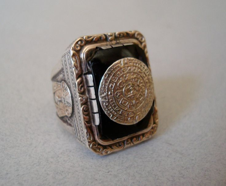 Heavy Vtg Biker Aztec Ring Sterling Silver Gold Overlay Onyx Mexican Indian Head