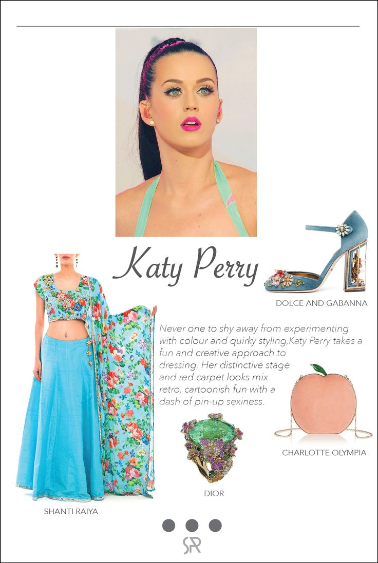 #CelebCrush Katy Perry Katy Perry is certainly no wallflower when it comes to fashion, she is constantly catching eyes and turning heads.  Lehnga by Shanti Raiya Ring By Dior  Peach Suede Clutch by Charlotte Olympia Pumps by Dolce and Gabbana   For more information on our services and collection, log onto:  www.shanti-raiya.com