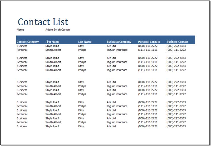free contact list sample , Contact List Template – Several Options of Categorization to Know , Contact list template can be referred as some personal information. It can be classified again into several types by categorize the people within the same field or interest.