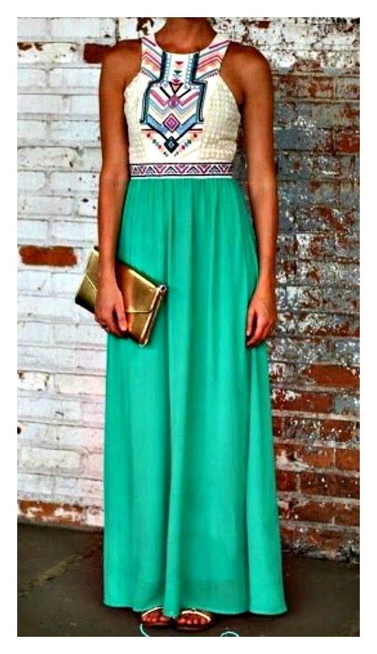 9da58a988c421a CUTE White Lace & Aztec Print White Top with Aqua Green Chiffon Maxi Dress # dress #maxidress #longdress #lacedress #lace #green #Aztec #geometric ...