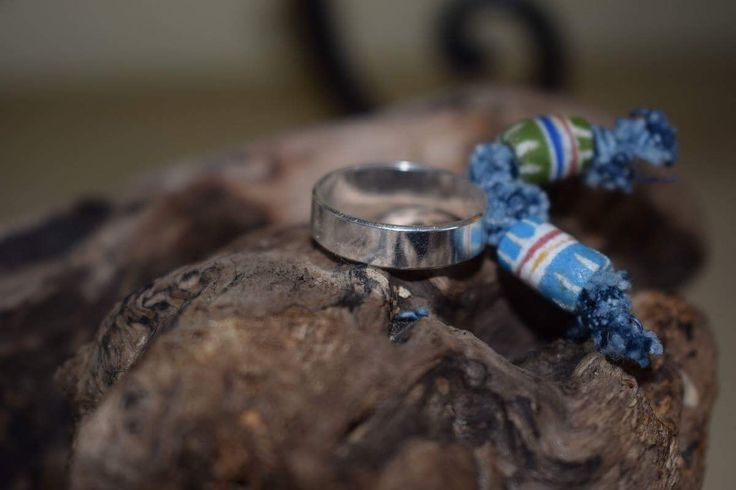 Silver Boho style ring,Ethnic style oak ring,recycled glass and denim,sterling silver jewelry,Ghana glass beads by denimize on Etsy