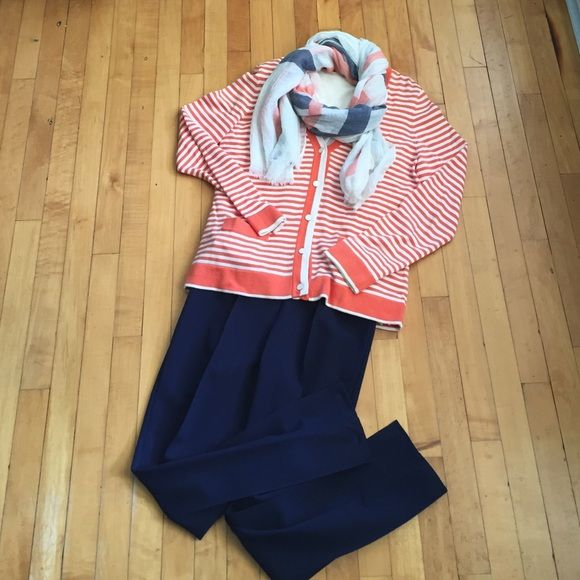 Lands' End striped cardigan Orange and creamy white stripe cardigan. Great detail with the buttons and trim. Scarf not included. Lands' End Sweaters Cardigans