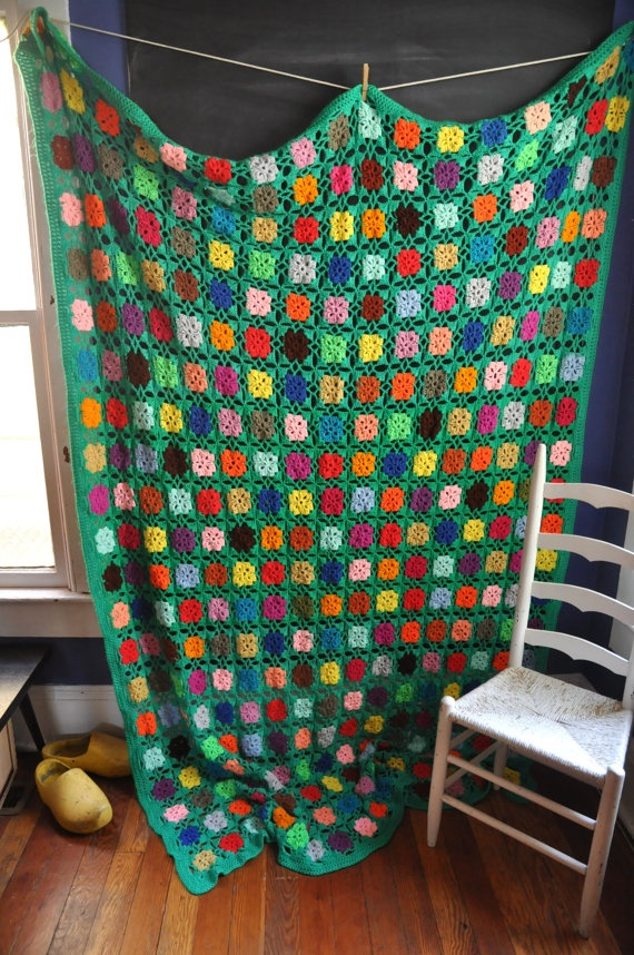 Vintage Afghan Blanket Handmade Granny Square Green Rainbow - beautiful granny square blanket w/ crisp green background