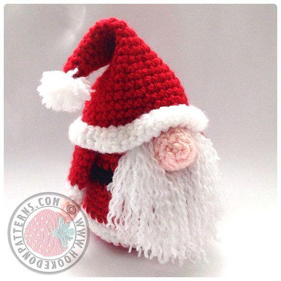 Santa Gonk Christmas Decorations Crochet PDF by HookedoPatterns