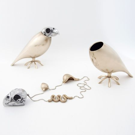 Tithi Kutchamuch created this amazing life-sized bronze, silver, and aluminum parrot whose skull and organs you can pluck out to wear as a necklace.