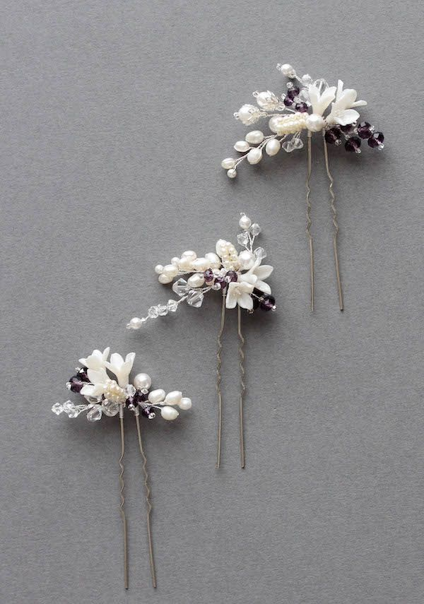 Pop of Purple   Set of 3 bridal hair pins for Mary
