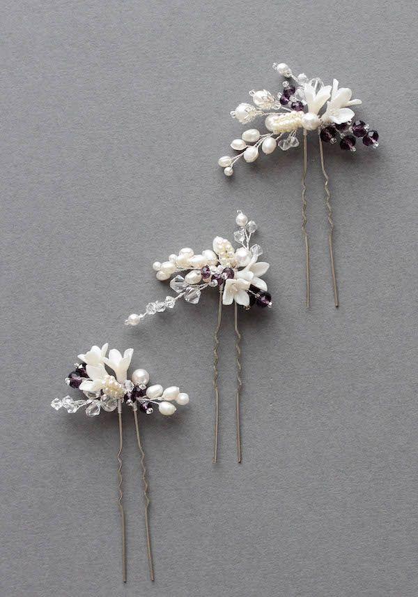 A medida para horquillas Mary_bridal en marfil y violeta 3