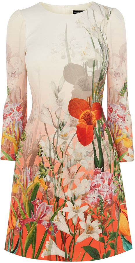 Oriental Floral Print On Scuba Dress - ShopStyle Collective