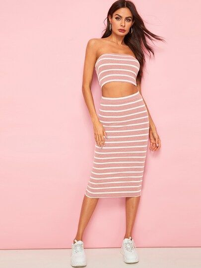 88a182ca1 Horizontal Striped Bandeau & Slit Hem Skirt Set   Colorful Tops Two ...