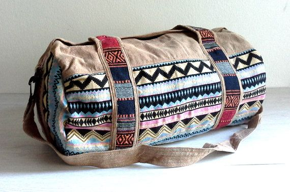 Ethnic Cotton duffle bag, aztec weekender bag, hippie travel bag, hipster overnight bag, cotton sports bag, Fitness gym bag, Light brown