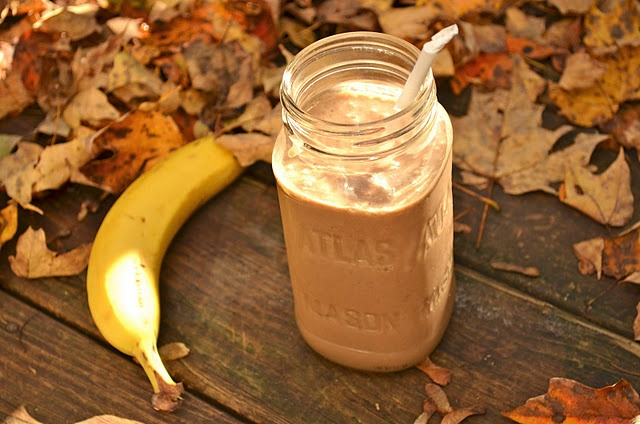 Dark Chocolate {and} Peanut Butter Protein Smoothie.  Ingredients:  1 cup dark chocolate almond milk,  2 tbsp peanut butter,  1 fresh ripe banana,  1/4 cup ground flax seed,   1 scoop protein powder,  handful of ice cubes (about 6-7 cubes)