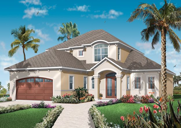 the 4 bedroom spanish mediterranean style home features a