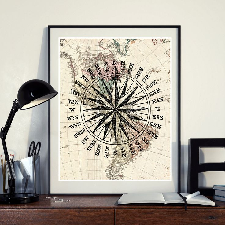 Vintage Map North America Compass Poster Instant Download Printable A3 A4 Compass Wall Art Print 11x14 8×10 DIGITAL DOWNLOAD jpg HQ300dp by ZikkiArt on Etsy