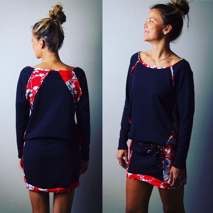 """Robe pull pour femme """"Salma"""", noire et rouge motifs fleurs, woman dress, black and red, romantic, ethnic, bohème, robe courte à nouer de la boutique AllByK sur Etsy"""