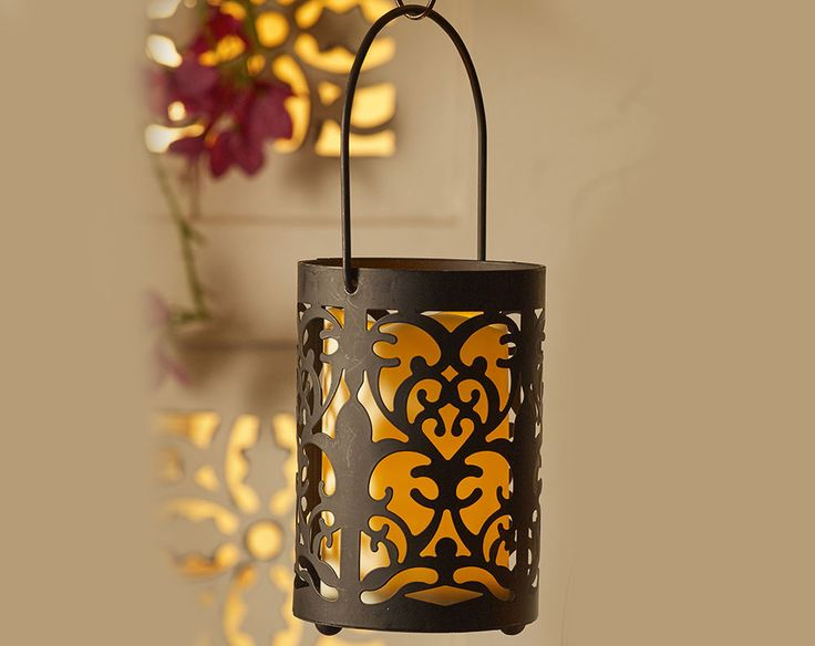 moroccan style LED battery flickering candle hanging freestanding metal lantern