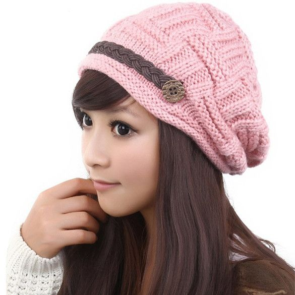 New Fashion Winter Plicate Baggy Beanie Women's Knitted Ski Hat Cap