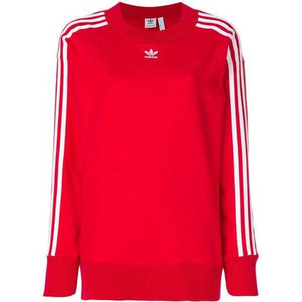 Adidas Originals Adidas Originals 3-Stripes sweatshirt ($94) ❤ liked on Polyvore featuring tops, hoodies, sweatshirts, red, adidas trefoil crew neck sweatshirt, long sleeve sweatshirts, red crewneck sweatshirt, crew-neck sweatshirts and crewneck sweatshirts