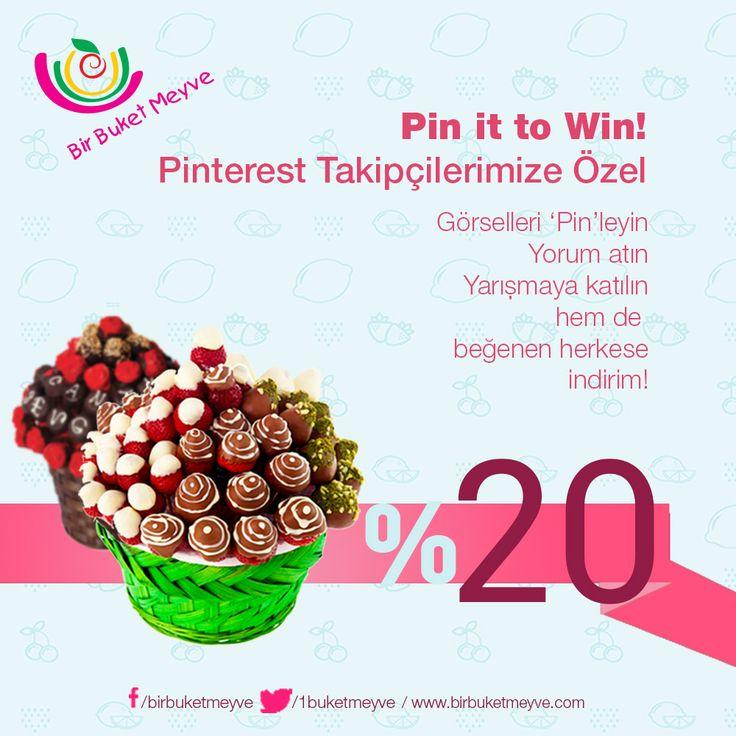 Pinterest yarışmamız başladı! Hemen bu görseli pinle, yorum at, yarışmaya katıl! Beğenenlere ise %20 indirim! #pintowin #yarisma #meyvesepeti #meyvebuketi #hediye