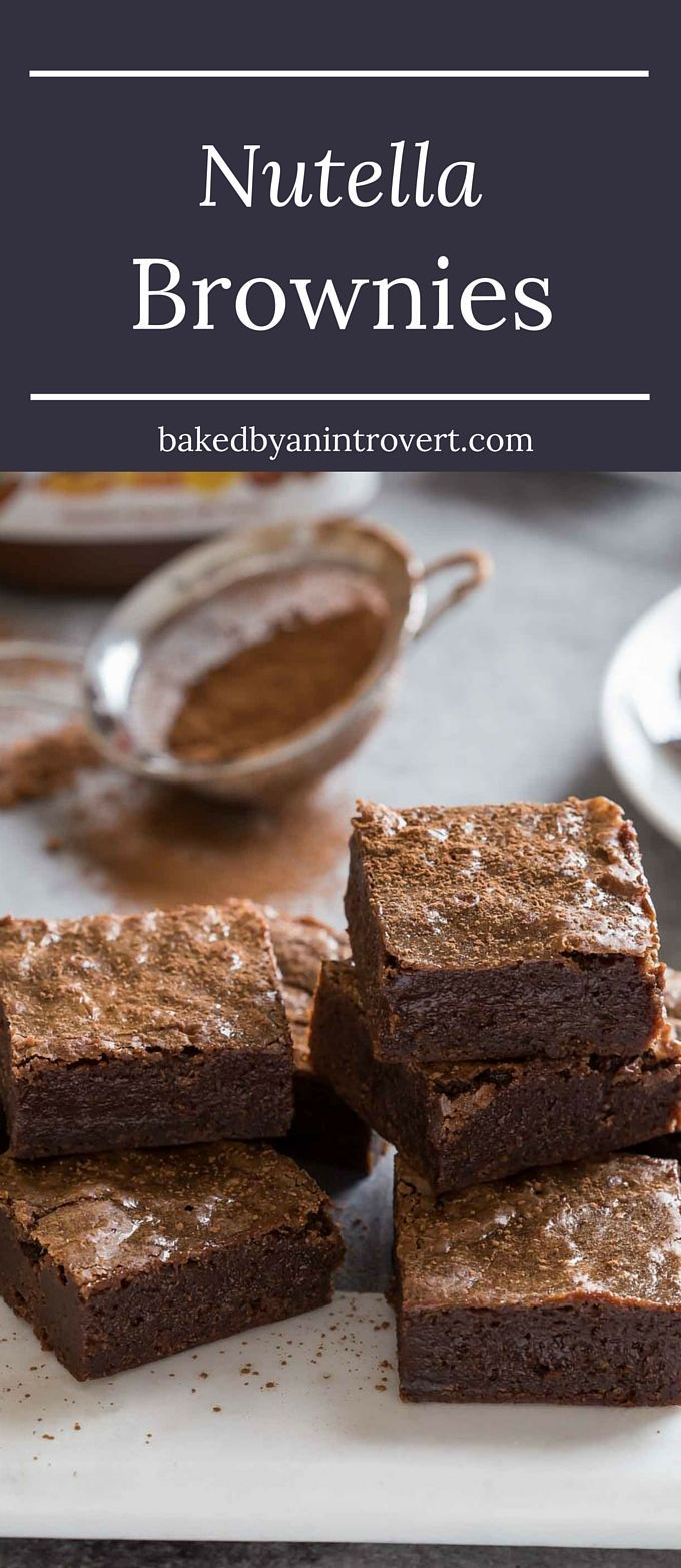If you love to indulge in the thick chocolate hazelnut spread known as Nutella, you will go absolutely nuts for these Nutella Brownies. They are so rich, decadent, and extra fudgy. Make these sinful brownies today!!