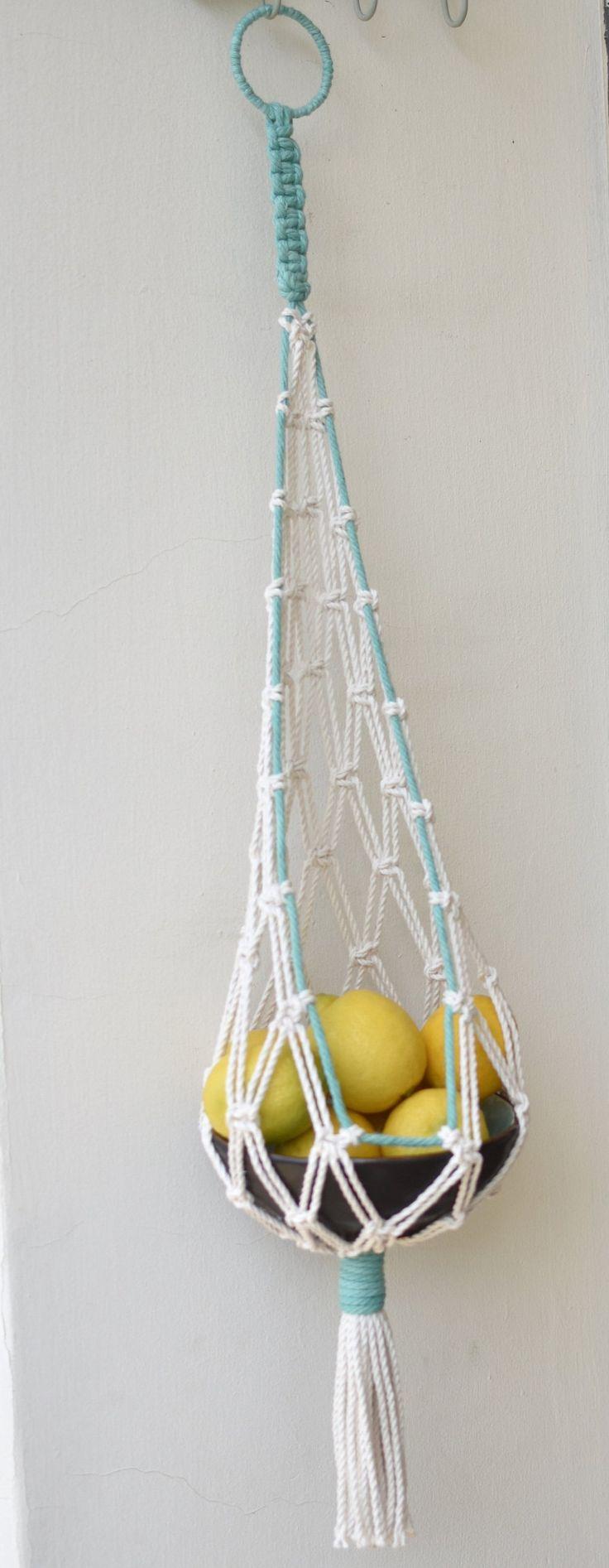 macrame hanging basket, hanging fruit basket, vegetables