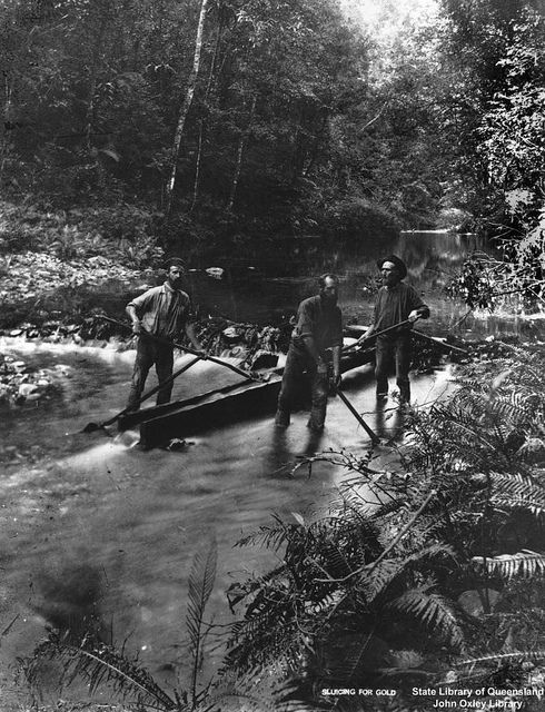 Sluicing for gold on Mulgrave River, Queensland, ca. 1888. From the State Library of Queensland - a superb collection of over 2,700 photographs on Flickr.