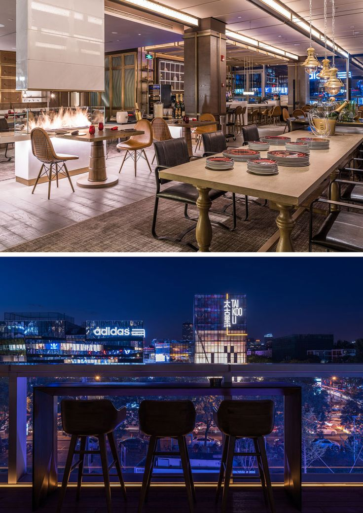 Existem muitos elementos de design únicos dentro deste restaurante moderno do hotel, incluindo uma lareira branca independente com tela de segurança de vidro.  No exterior, sentar na varanda oferece uma visão da cidade elétrica, neon.