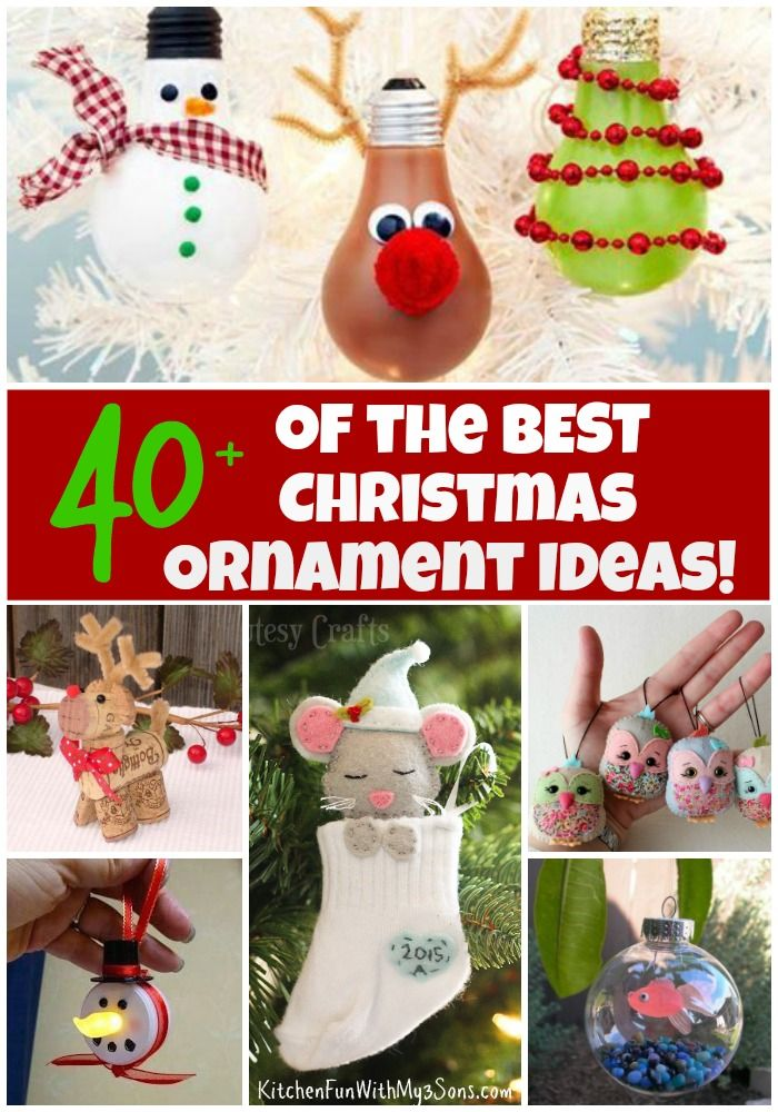 Over 40 of the BEST Homemade Christmas Ornaments...these easy Holiday crafts are so fun to make for Kids and Adults! Lots of great class party ideas!