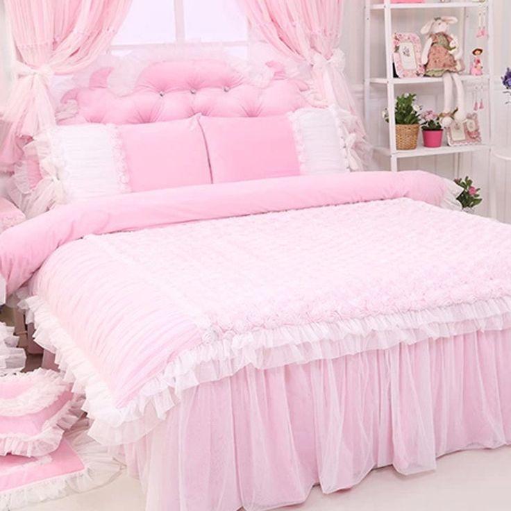 Rose Ruffle Duvet Cover Set, Light Pink