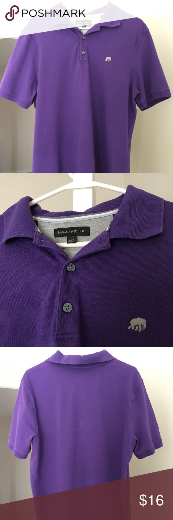 Banana Republic Purple Polo Shirt Short Sleeve Men's Large Banana Republic Purple Short Sleeve Polo Shirt.  Gently worn and hand washed.  Slightly form fitting shirt.  Little mark on the back of the shirt.  Price reflects wear.  Bundle & save with other items from my closet!  Any questions, please ask! Banana Republic Shirts Polos