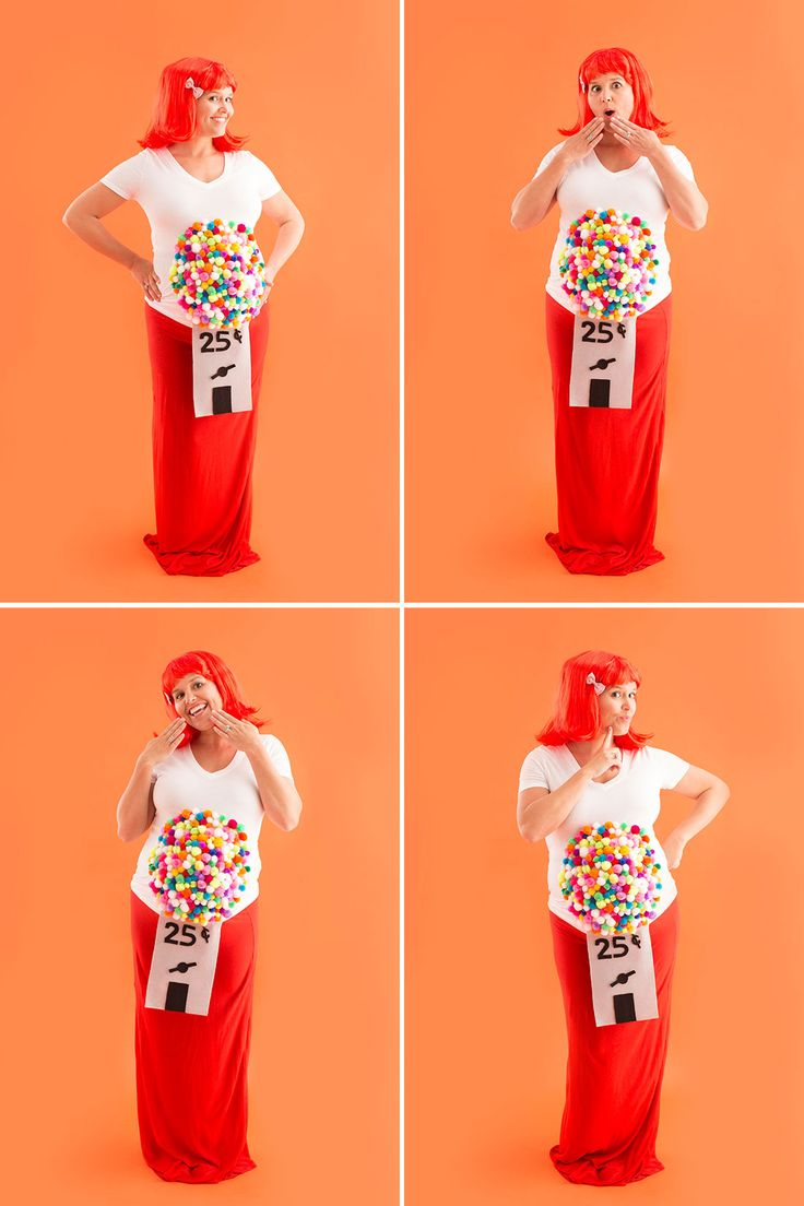 Here's how to DIY a gumball machine maternity costume for Halloween.