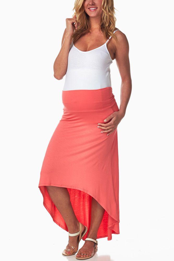 Coral-Hi-Low-Maternity-Skirt #maternity #fashion