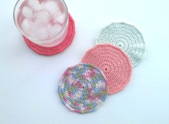 Coasters Crochet Coasters Drink Coasters by AGirlNamedMariaDK #coasters #coaster #crochet #crocheted #drink #drinks #beverage #tableware #drinkware #tablesetting #party #entertaining #glass #mug #cup #tea #coffee #dinner #table #guests #decorating #home #decor #summer #spring #red #coral #pink #peach #green #white #multi #colored #multicolored #pastels #pastel