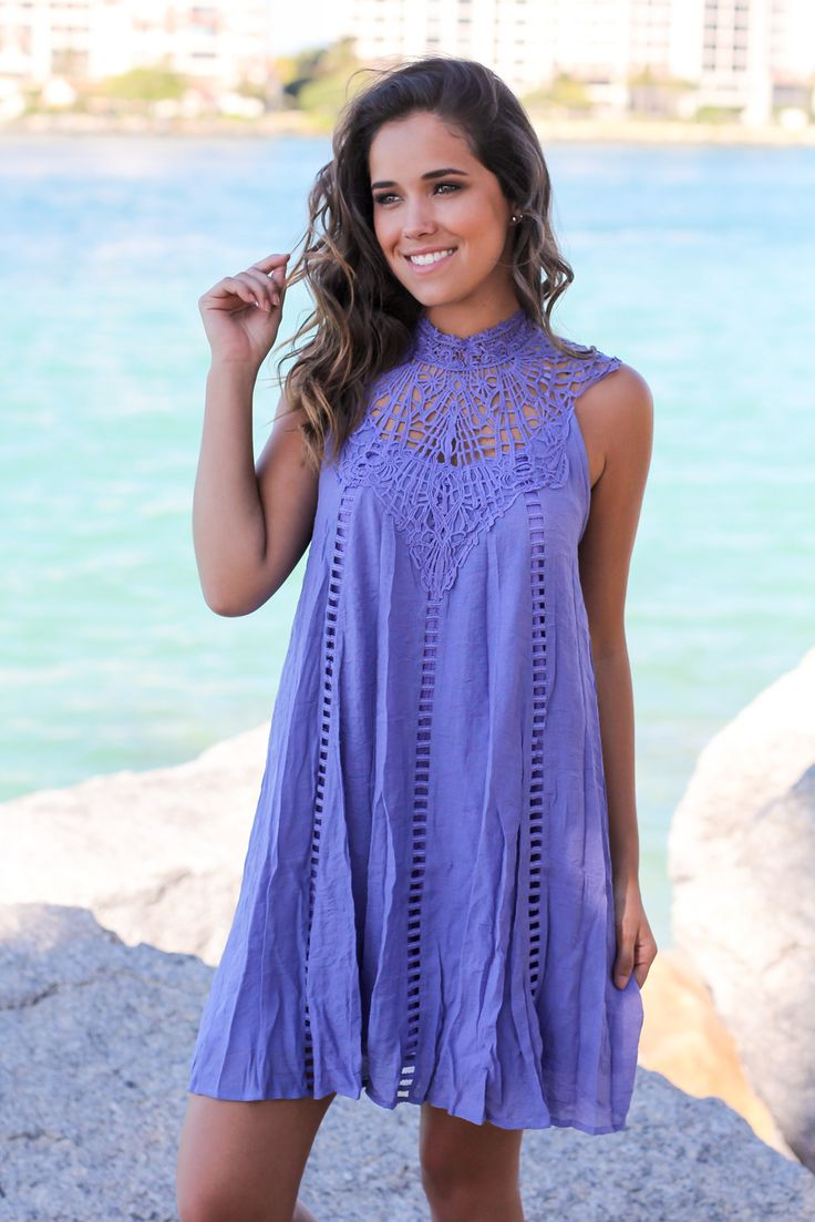 Lavender Crochet Short Dress