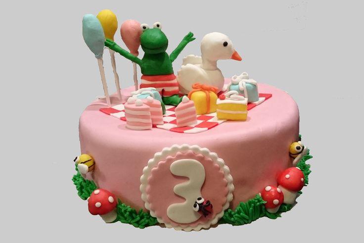 Kikker en Eend taart, Kikker en zijn vriendjes.  Frog en Friends cake.