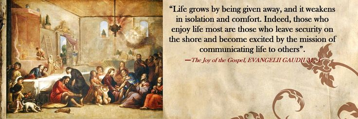 """""""Life grows by being given away, and it weakens in isolation and comfort. Indeed, those who  enjoy life most are those who leave security on the shore and become excited by the mission of communicating life to others"""". —The Joy of the Gospel, EVANGELII GAUDIUM , 4"""