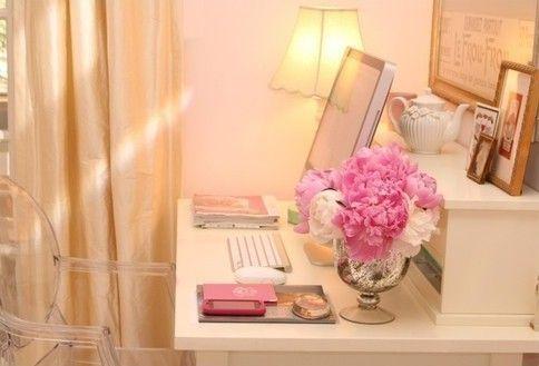 beautiful computer desk: Peonie, Desks Area, Offices Spaces, Work Spaces, Workspaces, Pink, Flowers, Desks Spaces, Home Offices