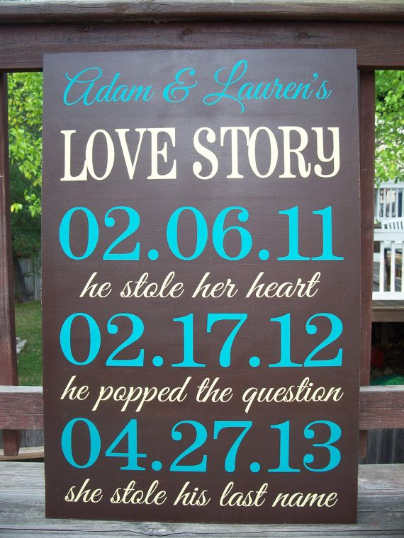 Wedding Decor LARGE 3ftx4ft Love Story by CastleInnDesigns